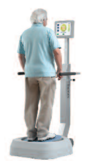 Biodex Balance SD, and in use with older man looking at screen while shifting weight