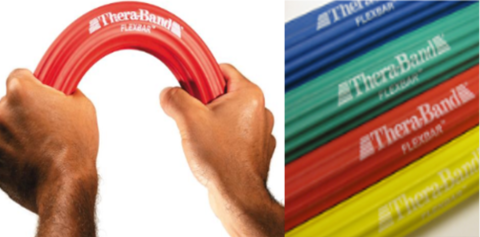 Theraband FlexBar In Use being bent, and 4 different Color Options